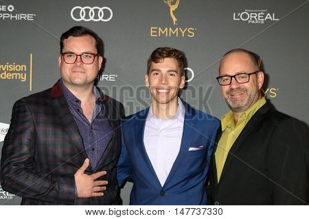 LOS ANGELES - SEP 16:  Kristian Bruun, Jordan Gavaris, Graeme Manson at the TV Academy Performer Nominee Reception at the Pacific Design Center on September 16, 2016 in West Hollywood, CA