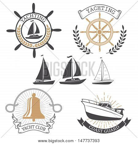 Yachting club labels. Yacht club. Nautical emblems. Vector design elements.