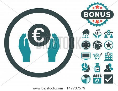 Euro Insurance Hands icon with bonus images. Vector illustration style is flat iconic bicolor symbols, soft blue colors, white background.