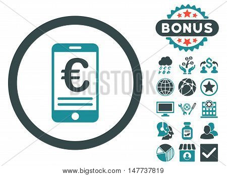 Euro Mobile Bank Account icon with bonus pictures. Vector illustration style is flat iconic bicolor symbols soft blue colors white background.