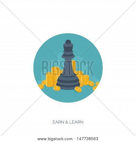 Flat chess figures. Strategy concept background. Money making. Finance.