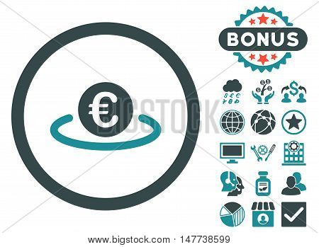 Euro Placement icon with bonus elements. Vector illustration style is flat iconic bicolor symbols, soft blue colors, white background.