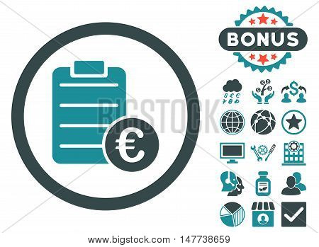 Euro Prices icon with bonus symbols. Vector illustration style is flat iconic bicolor symbols, soft blue colors, white background.