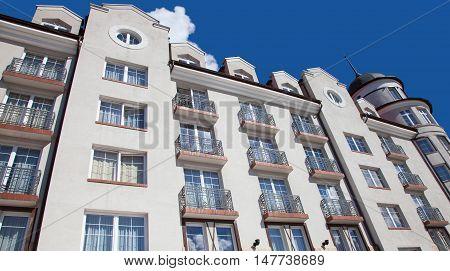 Part of building in the Rybnaya derevnya. Kaliningrad Russia.