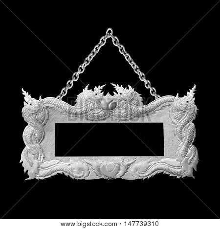 old decorative sign frame with chain - handmade engraved - isolated on black background