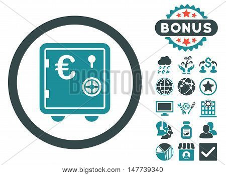 Euro Safe icon with bonus pictogram. Vector illustration style is flat iconic bicolor symbols, soft blue colors, white background.