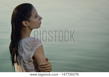 Sexy Woman In White Shirt Posing On The Forest Lake
