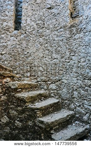 Stone stairs in a ruined windmill on the Greek island of Lefkada
