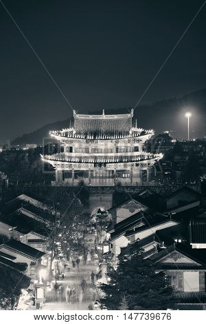 Old architecture in Dali Town at night, Yunnan, China