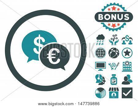 Euro Transactions icon with bonus symbols. Vector illustration style is flat iconic bicolor symbols, soft blue colors, white background.