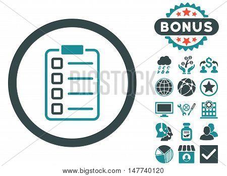 Examination icon with bonus images. Vector illustration style is flat iconic bicolor symbols, soft blue colors, white background.