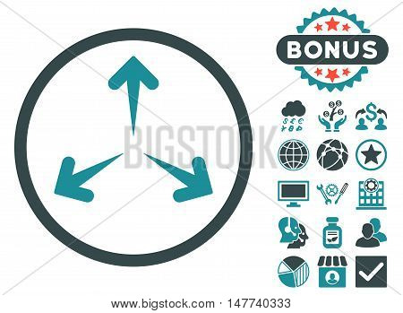 Expand Arrows icon with bonus images. Vector illustration style is flat iconic bicolor symbols, soft blue colors, white background.