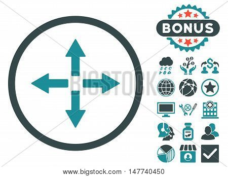 Expand Arrows icon with bonus pictogram. Vector illustration style is flat iconic bicolor symbols, soft blue colors, white background.