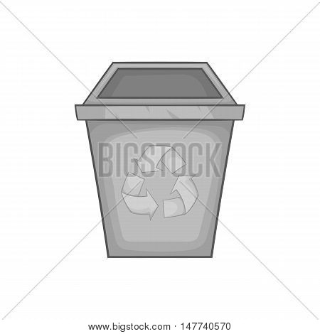 Trash bin with recycling sign icon in black monochrome style on a white background vector illustration