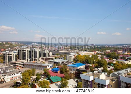IRKUTSK RUSSIA - 17 SEPTEMBER 2016: Panoramic view of the Irkutsk.