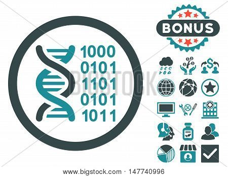 Genetical Code icon with bonus design elements. Vector illustration style is flat iconic bicolor symbols, soft blue colors, white background.