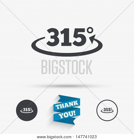 Angle 315 degrees sign icon. Geometry math symbol. Flat icons. Buttons with icons. Thank you ribbon. Vector