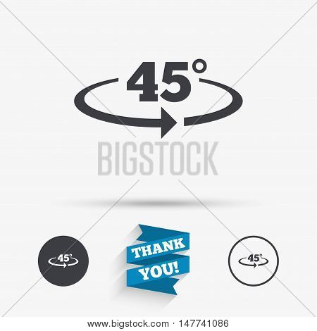 Angle 45 degrees sign icon. Geometry math symbol. Flat icons. Buttons with icons. Thank you ribbon. Vector