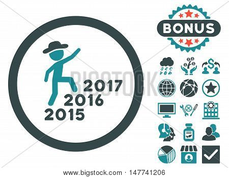Gentleman Steps Years icon with bonus pictogram. Vector illustration style is flat iconic bicolor symbols soft blue colors white background.