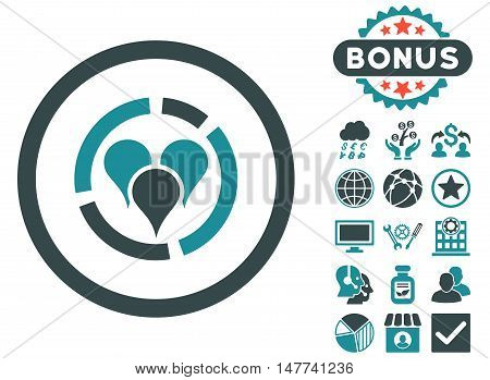 Geo Diagram icon with bonus design elements. Vector illustration style is flat iconic bicolor symbols soft blue colors white background.
