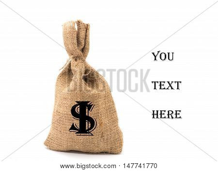 Save money concept, Bag money isolated on white background, Save money for prepare in the future