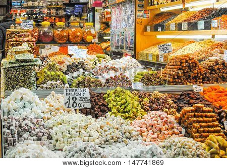 Istanbul, The Central Market - January 7/2016: Traders On The Istanbul Market Selling A Variety Of G