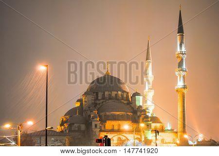 Night Big Turkish mosque during heavy rain
