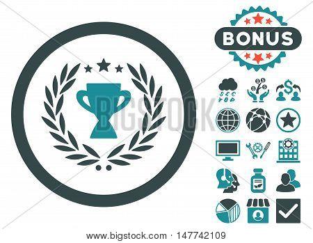 Glory icon with bonus design elements. Vector illustration style is flat iconic bicolor symbols, soft blue colors, white background.