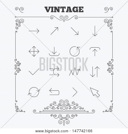 Arrows line icons. Download, upload, check or tick symbols. Refresh, fullscreen and shuffle thin outline signs. Vintage ornament patterns. Decoration design elements. Vector