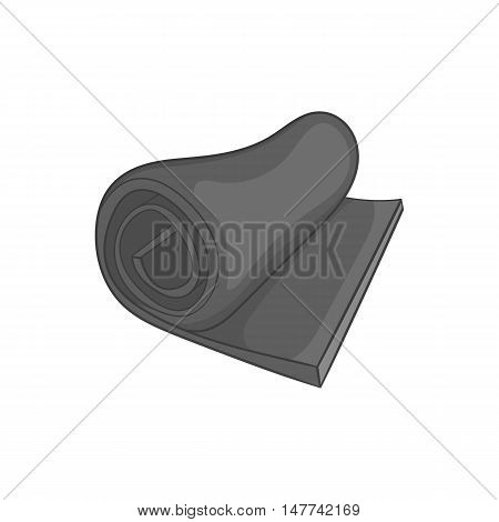 Rolled up tourist mat icon in black monochrome style on a white background vector illustration