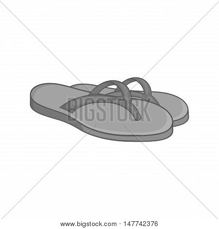 Beach thongs icon in black monochrome style on a white background vector illustration