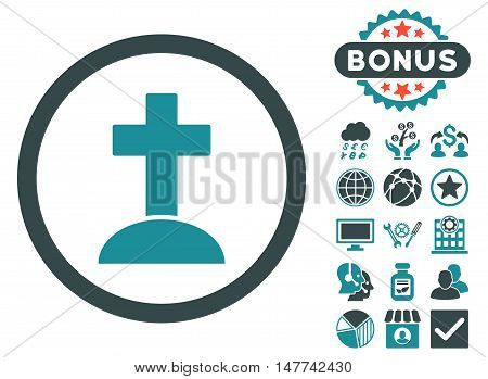 Grave icon with bonus elements. Vector illustration style is flat iconic bicolor symbols, soft blue colors, white background.