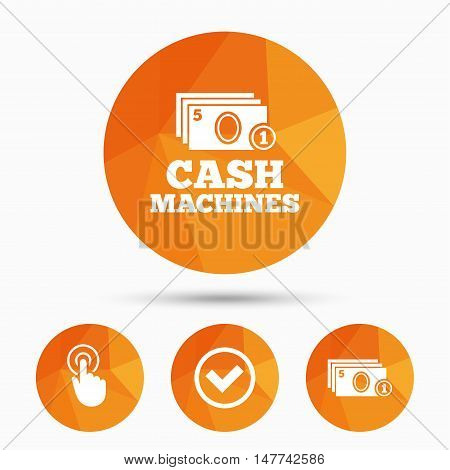 ATM cash machine withdrawal icons. Click here, check PIN number, processing and cash withdrawal symbols. Triangular low poly buttons with shadow. Vector