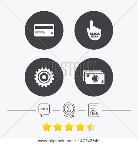 ATM cash machine withdrawal icons. Insert bank card, click here and check PIN, processing and get cash symbols. Chat, award medal and report linear icons. Star vote ranking. Vector