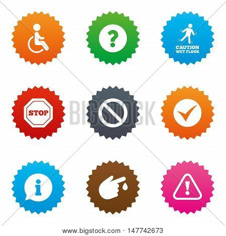 Attention caution icons. Question mark and information signs. Injury and disabled person symbols. Stars label button with flat icons. Vector