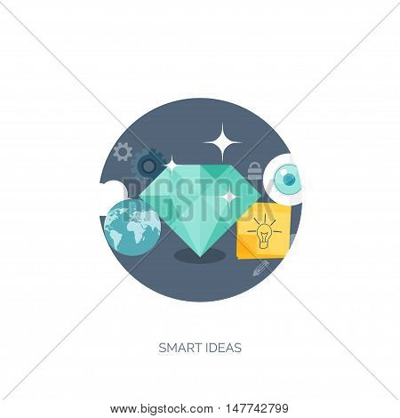 Vector illustration. Flat backgrounds set. New ideas, smart solutions. Business aims. Teamwork. Targeting.