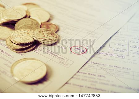 Save money concept, Bill and coins on office table Bill for income and expenditure, Save money for prepare vintage style
