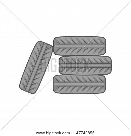Pile of tires icon in black monochrome style on a white background vector illustration