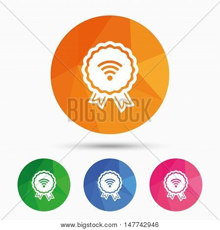 Award Wifi sign. Wi-fi medal symbol. Wireless Network icon. Wifi zone. Triangular low poly button with flat icon. Vector