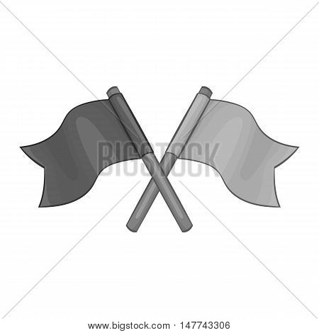 Two crossed flags icon in black monochrome style on a white background vector illustration