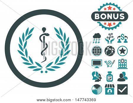 Health Care Emblem icon with bonus images. Vector illustration style is flat iconic bicolor symbols, soft blue colors, white background.