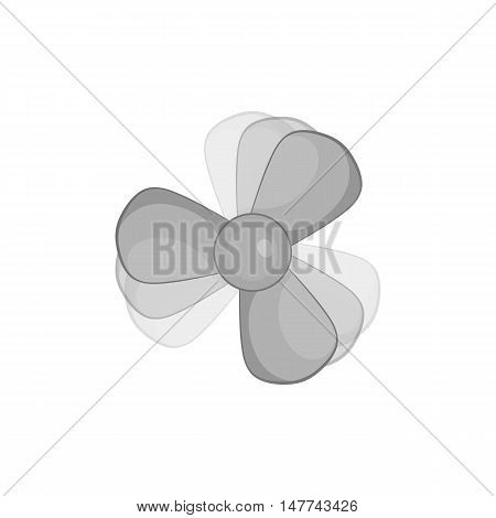 Propeller icon in black monochrome style isolated on white background. Mechanism symbol vector illustration