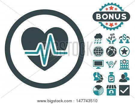 Heart Diagram icon with bonus pictogram. Vector illustration style is flat iconic bicolor symbols, soft blue colors, white background.