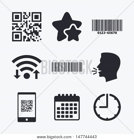 Bar and Qr code icons. Scan barcode in smartphone symbols. Wifi internet, favorite stars, calendar and clock. Talking head. Vector