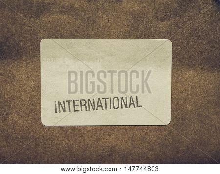 Vintage Looking International Label On Packet
