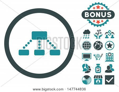 Hierarchy icon with bonus images. Vector illustration style is flat iconic bicolor symbols soft blue colors white background.