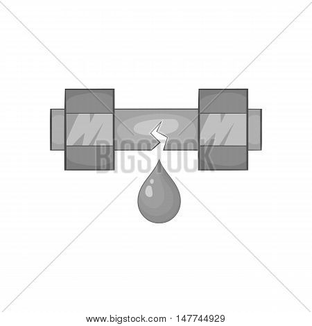 Breakthrough water pipe icon in black monochrome style isolated on white background. Plumbing symbol vector illustration