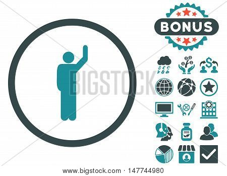 Hitchhike icon with bonus pictogram. Vector illustration style is flat iconic bicolor symbols soft blue colors white background.