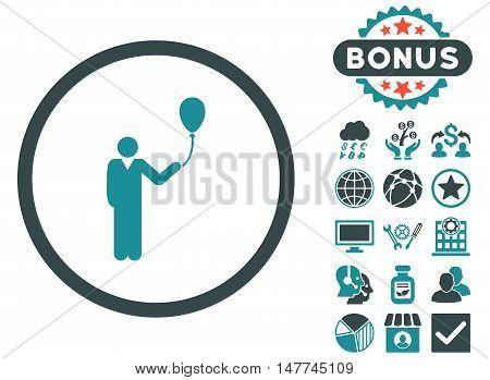 Holiday icon with bonus design elements. Vector illustration style is flat iconic bicolor symbols soft blue colors white background.