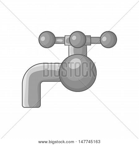 Valve on pipe icon in black monochrome style isolated on white background. Plumbing symbol vector illustration